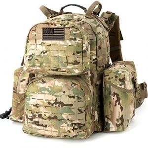 MT Tactical Backpack 1 MT Military MOLLE Medium Rucksack Hydration System Attached with IFAK Pouch and Assault Pack