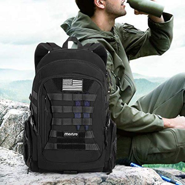 MOSISO Tactical Backpack 7 MOSISO Tactical Backpack, 2-Layer Multifuntional Large Molle Rucksack Daypack Adjustable Shoulder Back Pack Bag with Side Bottle Holder/USA Flag for Sport Outdoor Hiking Camping Training, Black