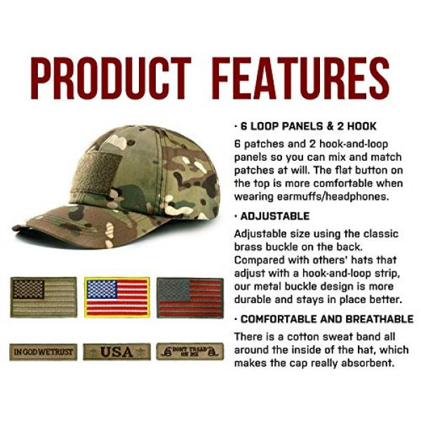 GLORYFIRE Tactical Hat 2 Tactical Hat Military Hat Camo Hat with 6 PCS Tactical Patches Adjustable Breathable Durable Cotton Camouflage Baseball Cap for Hiking Shooting Hunting and Other Outdoor Activities Suitable for Men