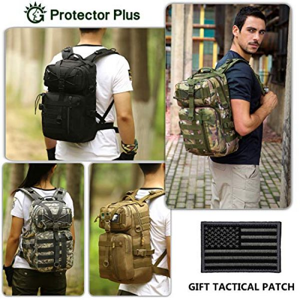 Protector Plus Tactical Backpack 3 Protector Plus Tactical Motorcycle Backpack Small Military MOLLE Cycling Hydration Daypack (Rain Cover & Patch Included)