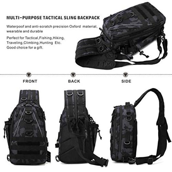 DOUN Tactical Backpack 2 DOUNto Tactical Sling Backpack, EDC Molle Sling Bag Military Daypack Backpack Outdoor Range Bags