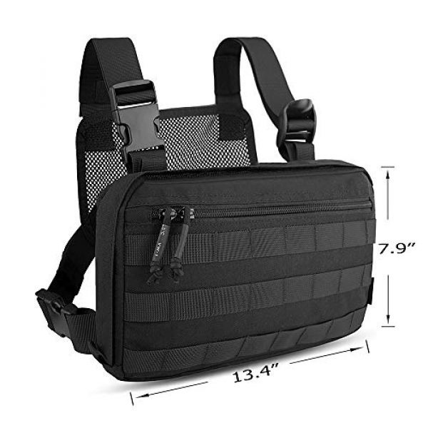KRYDEX Tactical Backpack 3 KRYDEX Chest Bag Tactical Combat MOLLE Pouch Radio Chest Harness Front Chest Pouch Black