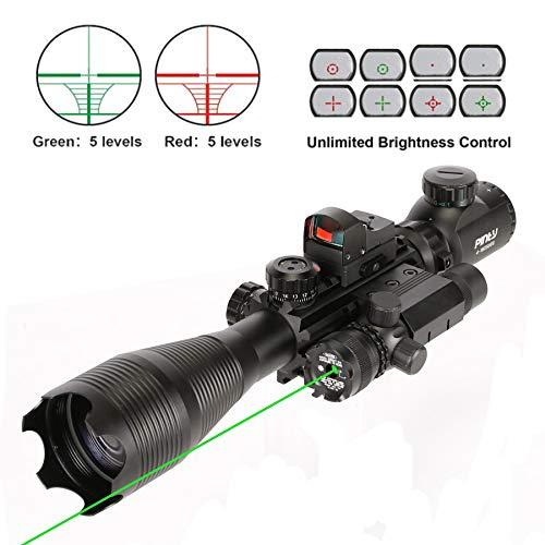 Pinty Rifle Scope 7 Pinty Rifle Scope 4-16x50, Illuminated Optics, Green Laser, Red-Coating Reflex Mini Sight