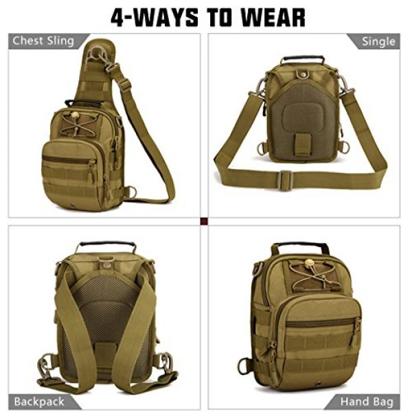 IDOGEAR SPORTS Tactical Backpack 2 IDOGEAR Tactical Sling Bag Pack Small EDC Molle Assault Military Army Shoulder Backpack