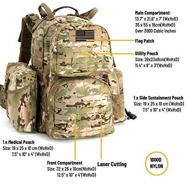 MT Tactical Backpack 3 MT Military MOLLE Medium Rucksack Hydration System Attached with IFAK Pouch and Assault Pack