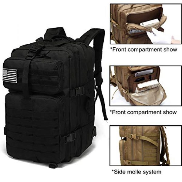 VooDoo Tactical Tactical Backpack 6 Military Tactical Assault Backpack Army MOLLE Rucksack, 3 Day Pack,for Outdoor Hiking Camping Trekking Hunting (Black)