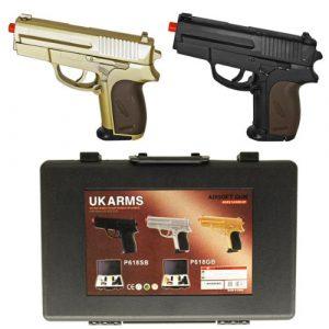UKARMS Airsoft Pistol 1 dual p.618 spring airsoft hand guns - gold & black(Airsoft Gun)