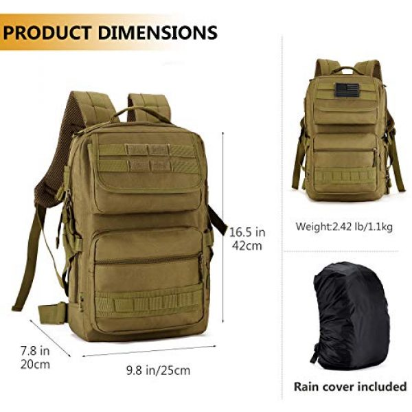Protector Plus Tactical Backpack 5 Protector Plus Tactical Motorcycle Backpack Small Military MOLLE Cycling Daypack Army Assault Pack Bug Out Bag Hiking Camping Rucksack (Rain Cover & Patch Included)