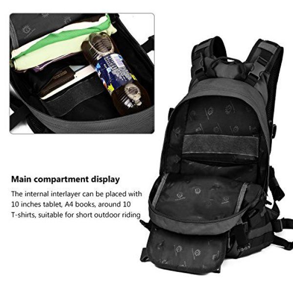 ArcEnCiel Tactical Backpack 7 ArcEnCiel 25L Tactical Motorcycle Cycling Backpack Military Molle Pack Helmet Holder with Patch - Rain Cover Included