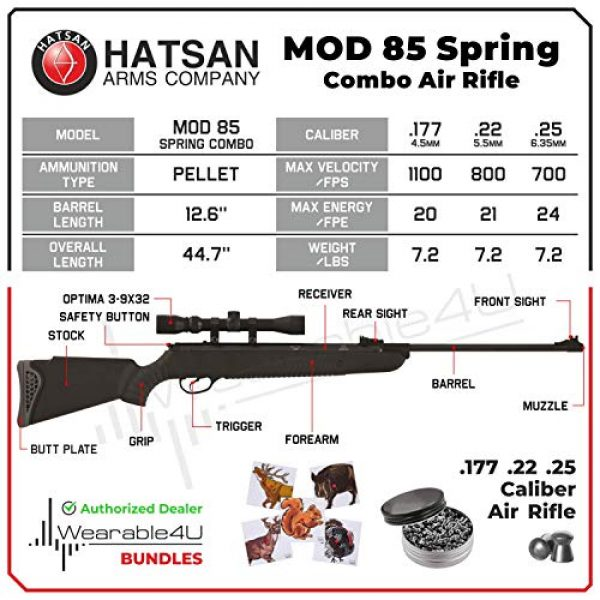 Wearable4U Air Rifle 3 Hatsan Mod 85 Spring Combo Air Rifle with Wearable4U 100x Paper Targets and Lead Pellets Bundle