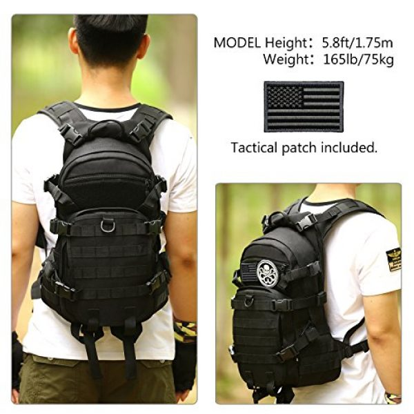 ArcEnCiel Tactical Backpack 2 ArcEnCiel 25L Tactical Motorcycle Cycling Backpack Military Molle Pack Helmet Holder with Patch - Rain Cover Included