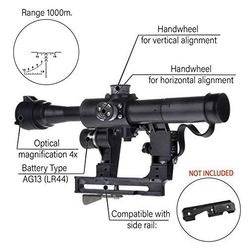 BelOMO Rifle Scope 2 BelOMO POSP 4x24 VM (BM). Optical Rifle Scope. Russian Side Mount. 1000m Rangefinder. 1 MOA. Combloc