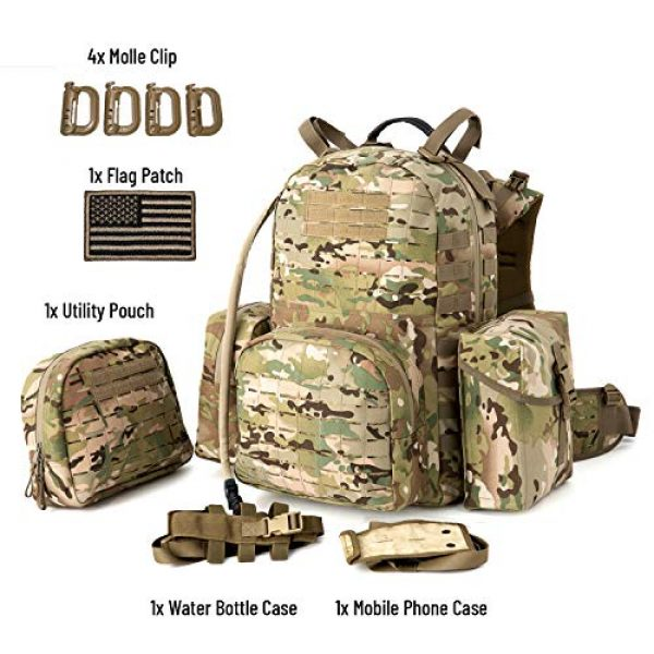 MT Tactical Backpack 2 MT Military MOLLE Medium Rucksack Hydration System Attached with IFAK Pouch and Assault Pack