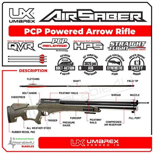 Wearable4U Air Rifle 2 Umarex AirSaber PCP Powered Arrow Air Rifle with 3 Carbon Fiber Arrows with Included Wearable4U Bundle
