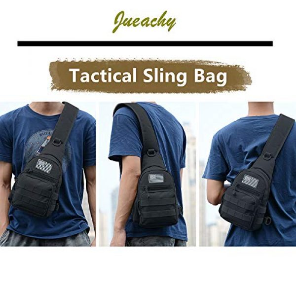 Jueachy Tactical Backpack 6 Tactical Sling Bag Military Shoulder Molle Chest Pack Shoulder Sling Backpack with USA Flag Patch