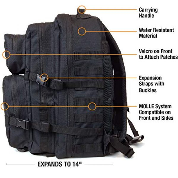 Excello Global Products Tactical Backpack 3 Excello Global Products High Capacity Black Tactical Backpack 50L Bundle with 42-Piece First Aid Kit, Adjustable Beam Flashlight, and 5 Journal Notebooks