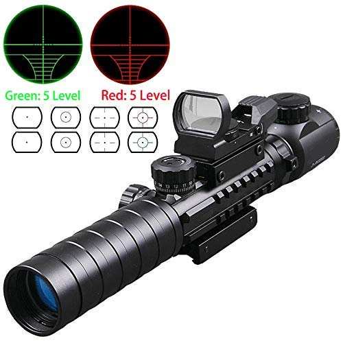Luger Rifle Scope 6 Luger Tactical 3-9X32EG Optical Dual Red Green Illuminated Crosshair Range Finder Rifle Scope with Red Green Reflex 4 Reticles Sight