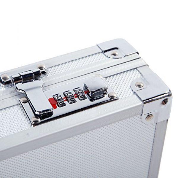 "TUFFIOM Airsoft Pistol Case 7 TUFFIOM 17.7"" x 4.3"" x 1.6"" Aluminum Locking Gun Pistol Handgun Lock Box Hard Storage Carry Case Silver"