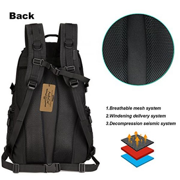 ArcEnCiel Tactical Backpack 4 ArcEnCiel Tactical Backpack Military Army Day Assault Pack Molle Bag with Patch - Rain Cover Included