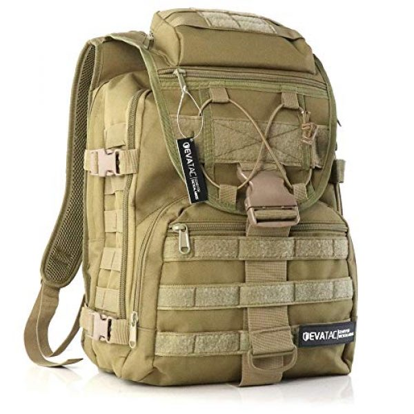 Evatac Tactical Backpack 1 Evatac Tactical Backpack for Military Combat | Large Size Khaki 35L 600D Molle Bug Out Bag Or Every Day Travel Back Pack.