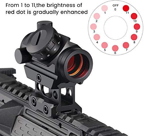 QILU Rifle Scope 3 QILU 3-4 MOA Compact Red Dot Scope, 3-4MOA Compact 11 Brightness Red Dot Scope with Riser Mount
