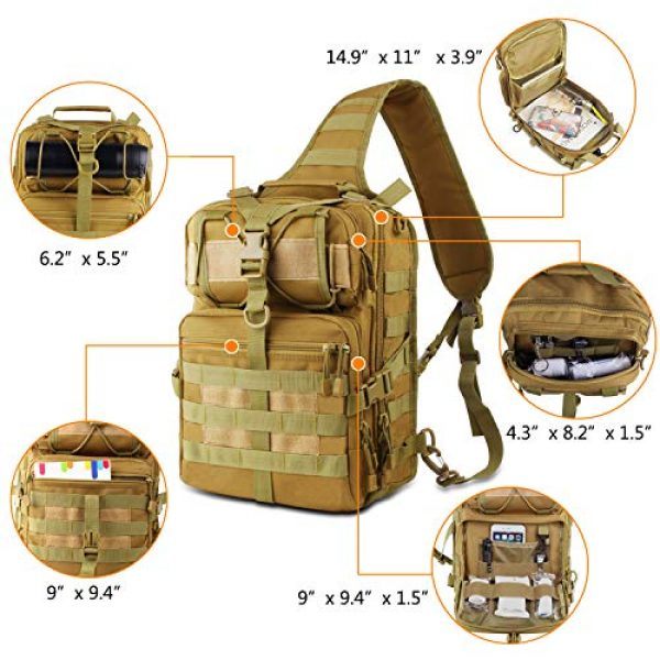 FUNANASUN Tactical Backpack 4 FUNANASUN Tactical Sling Backpack Bag Military Molle Assault Pack Rucksack Daypack for Outdoors Camping Hiking Hunting