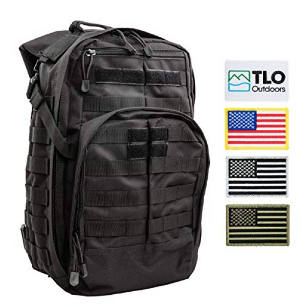 TLO Outdoors Tactical Backpack 2 TLO Outdoors TacPack12 Tactical Backpack 24L Storage Daypack, Rucksack, Gear Bag