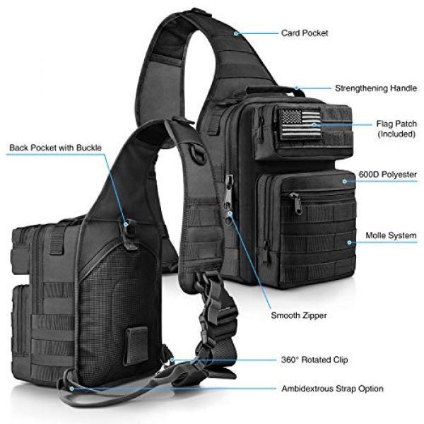 CVLIFE Tactical Backpack 4 CVLIFE Tactical Sling Bag Pack Military Rover Shoulder Sling Backpack Molle Range Bag EDC Small Day Pack with Padding Pocket
