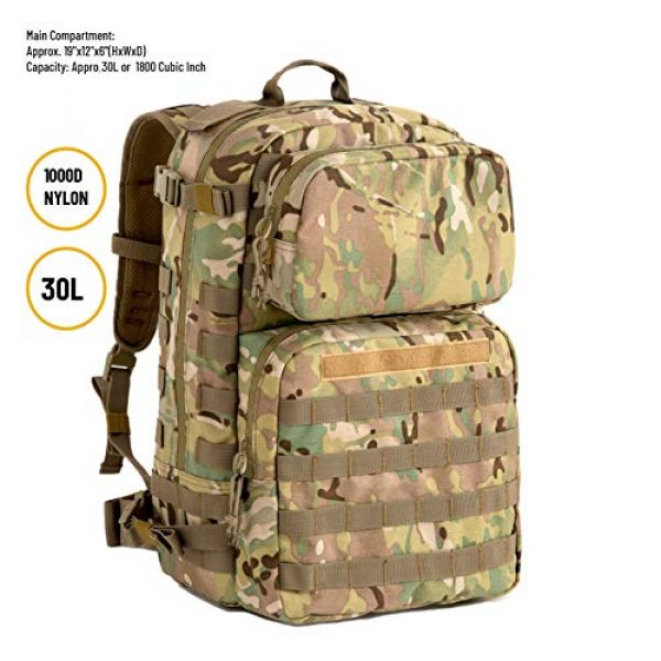 MT Tactical Backpack 2 MT Military FILBE Assault Pack with Assault Pouch, Army Tactical Rucksack Backpack Multicam