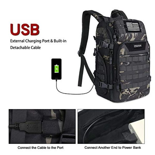 MOSISO Tactical Backpack 5 MOSISO 30L Tactical Backpack, Military Daypack 3 Day Assault Molle Rucksack Outdoor Hiking Hunting Fishing Camping Training Shoulder Bag with USA Flag Patch&USB Charging Port, Night Camouflage