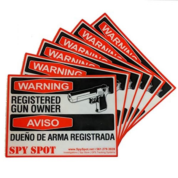 "Spy Spot Gun Owner Sticker 1 Spy Spot 6 Pack Registered Gun Owner Sticker Decal Vinyl Door or Window 4"" x 3"" UV Resistant Weatherproof"