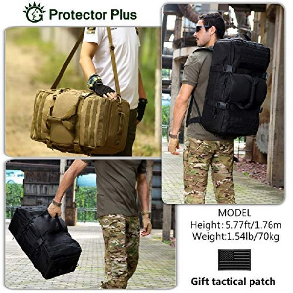 Protector Plus Tactical Backpack 3 Protector Plus Tactical Travel Backpack 60L Military MOLLE Duffel Bag Luggage Suitcase Hiking Camping Outdoor Rucksack (Rain Cover & Patch Included)