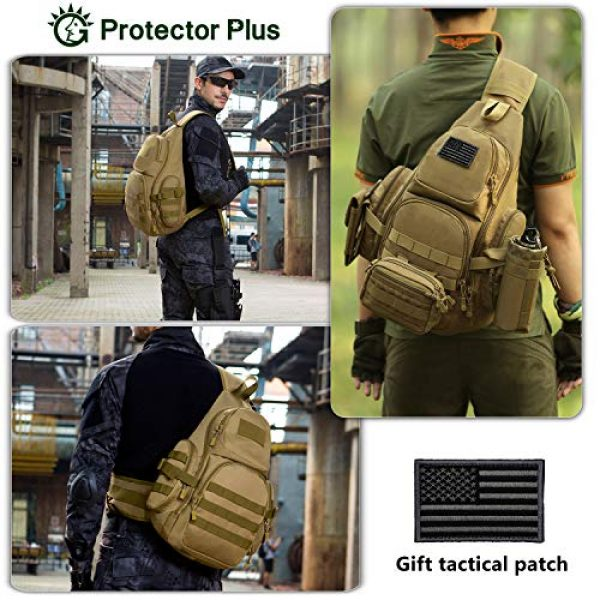 Protector Plus Tactical Backpack 3 Protector Plus Tactical Sling Bag Military MOLLE Crossbody Pack (Patch Included)