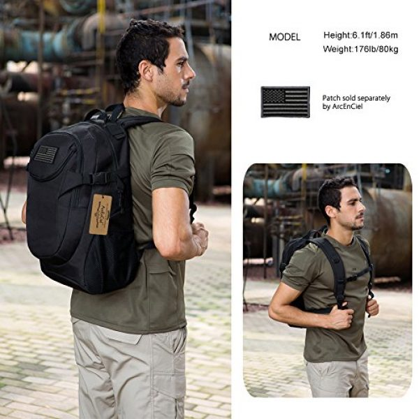 ArcEnCiel Tactical Backpack 7 ArcEnCiel Motorcycle Backpack Tactical Military Bag Army Assault Pack - Rain Cover Included