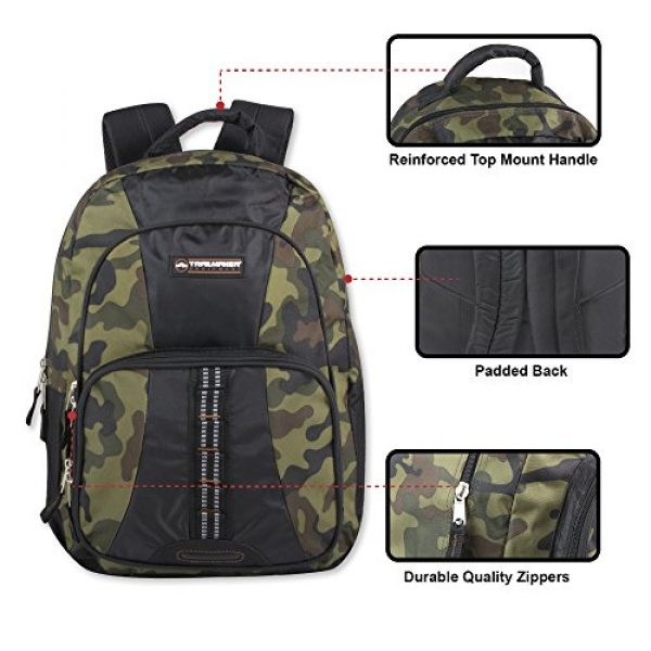 Trailmaker Tactical Backpack 2 Trail maker Tactical Camo Backpack for Boys, Girls, Men, Women for School and Travel (Green Camo)