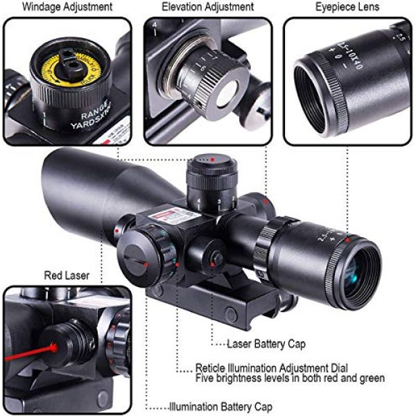 QILU Rifle Scope 5 QILU 2.5-10x40 Rifle Scope - Illuminated Red & Green Mil-dot Reticle - Red Dot Sights for Rifles - Red Dot Sight - Long Rifle Scope - Crossbow Scope - with Red Laser & 20mm Mounts