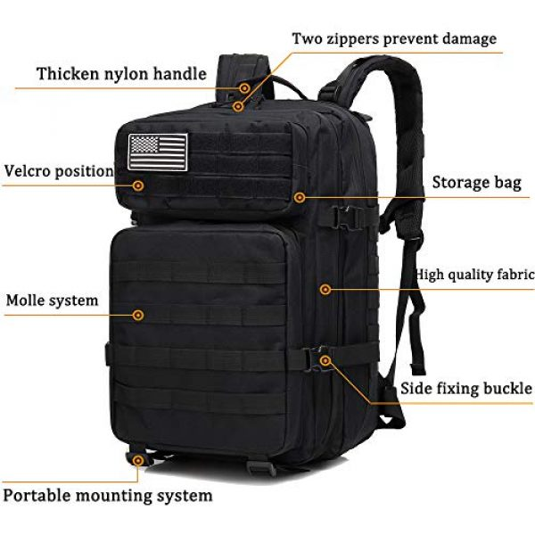 Createy Tactical Backpack 3 Createy Military Tactical Backpack, Large Army 3 Day Assault Pack 45L Molle Bag Rucksack Bug Out Bag Daypacks with Molle System for Camping Hunting Hiking Traveling