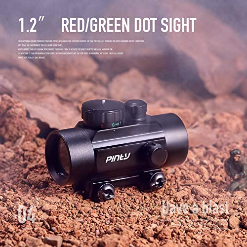 Pinty Rifle Scope 2 Pinty 30mm Reflex Red Green Dot Sight Scope 0.5 MOA with Flip Up Lens Cover Cap