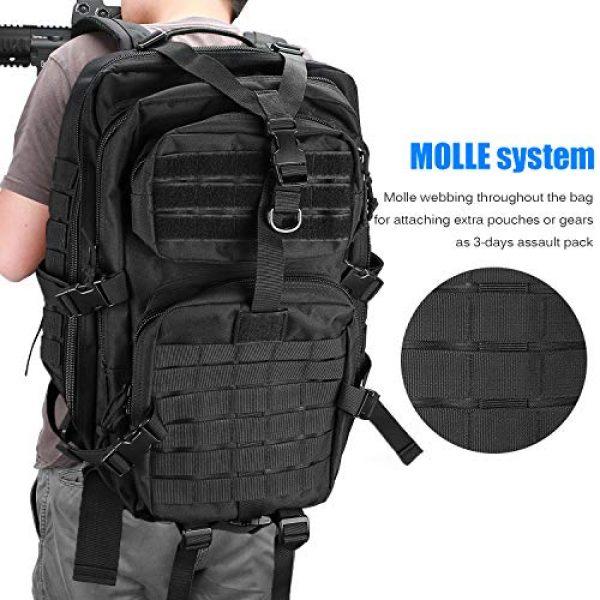 ProCase Tactical Backpack 5 ProCase Military Tactical Backpack, 48L Large Rucksack 3 Day Outdoor Army Assault Molle Pack Go Bag Backpacks -Black