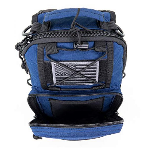 LINE2design Tactical Backpack 1 LINE2design Complete Sling Backpack Kit - EMS EMT Trauma First Aid Emergency Response Fully Stocked Survival Molle Kit - Stop Bleeding Safety Rescue Perfect Upgraded Outdoor Shoulder Bag Pack - Navy