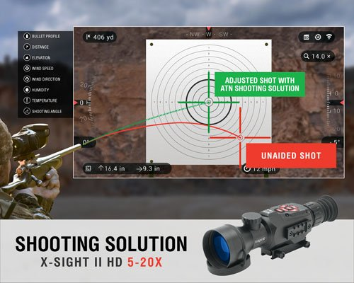 ATN Rifle Scope 3 ATN X-Sight II HD 5-20 Smart Day/Night Rifle Scope w/1080p Video, Ballistic Calculator, Rangefinder, WiFi, E-Compass, GPS, Barometer, IOS & Android Apps