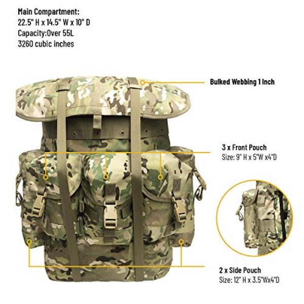 MT Tactical Backpack 2 Military Rucksack Alice Pack Army Backpack and Butt Pack