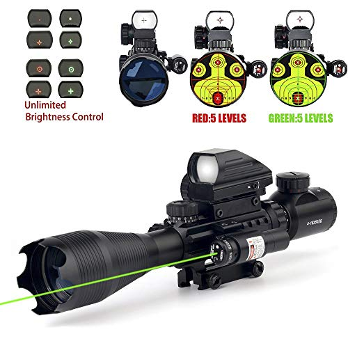 THEA Rifle Scope 1 THEA 4-16x50 Tactical Rifle Scope Red/Green Illuminated Range Finder Reticle W/Green Laser and Holographic Reflex Dot Sight (12 Month Warranty)