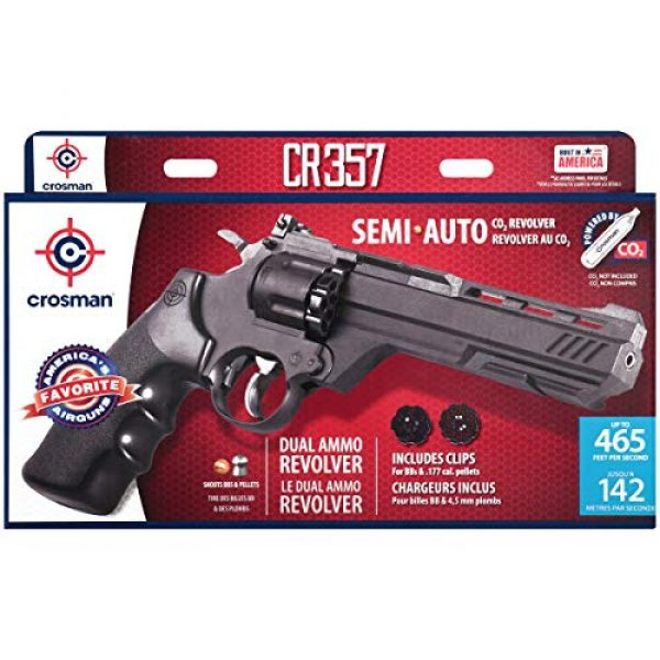 Crosman Air Pistol 2 Crosman CR357 Revolver .177 Caliber CO2 Air Pistol, 465fps