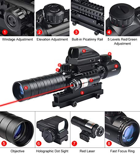 MidTen Rifle Scope 3 MidTen 3-9x32 Tactical Rifle Scope Dual Illuminated Optics & Rangefinder Illuminated Reflex Sight 4 Holographic Reticle Red/Green Dot Sight & IIIA/2MW Laser Sight(Red)