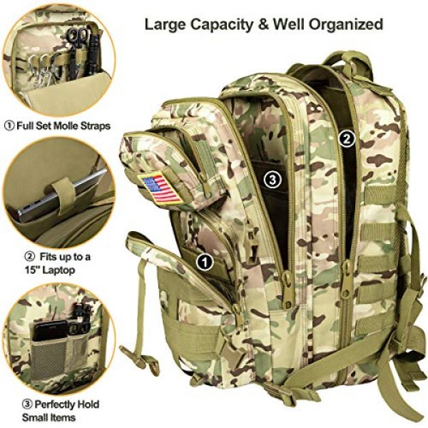 CVLIFE Tactical Backpack 5 CVLIFE Military Tactical Backpack Army 3 Day Assault Pack Molle Bag EDC Rucksack