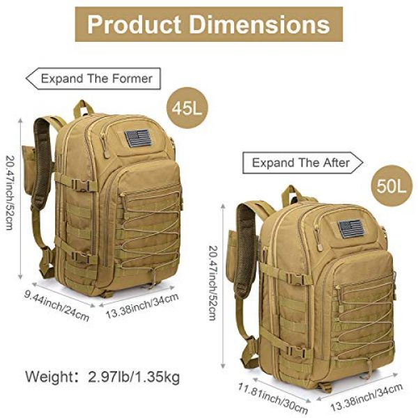 G4Free Tactical Backpack 2 G4Free Expandable Tactical Backpack Military Shoulder Pack 45L-50L Army Molle 3 Day Assault Rucksack