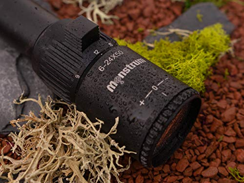Monstrum Tactical Rifle Scope 7 Monstrum G2 6-24x50 First Focal Plane FFP Rifle Scope with Illuminated Rangefinder Reticle and Parallax Adjustment | Flat Dark Earth