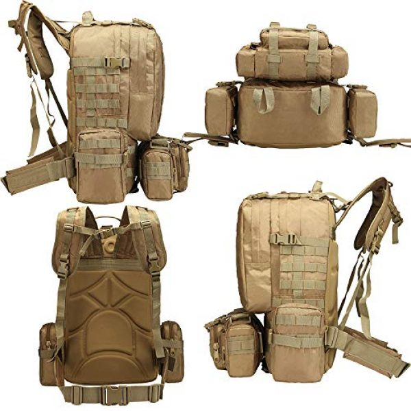 Suoki Tactical Backpack 3 Tactical Backpack 55L with Built-up 3 MOLLE Bags Rucksacks for Travelling
