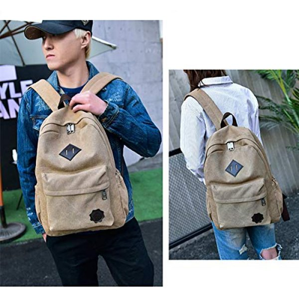 """J&Q Tactical Backpack 4 J&Q Casual High Capacity Canvas Vintage Backpack - for School Hiking Travel 12-17"""" Laptop"""